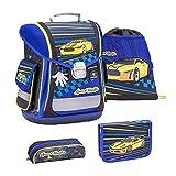 Belmil ergonomischer Schulranzen Groß Set 4-teilig für Jungen 1, 2, 3, Klasse/Leicht: 950-1000 g/Rennauto, Racing Car/Blau, Blue (404-5 Speed Hunter)