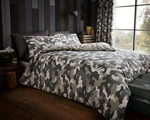 Gaveno Cavailia Luxury CAMOUFLAGE Bed Set with Duvet Cover and Pillow Case, Polyester-Cotton, Green, Double