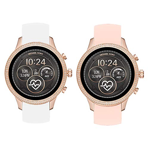 Compatible for Michael Kors Runway Band, Blueshaw Sport Silicone Replacement Strap for Michael Kors Access Runway Smartwatch (2 Pack-W+P)