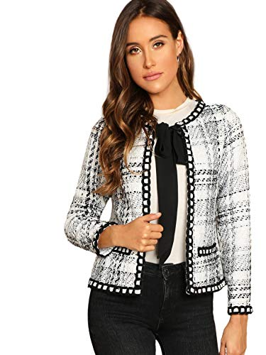 Womens Elegant Tie Round Neck Long Sleeve Vintage Plaid White Tweed Blazer Jacket