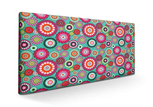 SUENOSZZZ-ESPECIALISTAS DEL DESCANSO Cabecero tapizado para Camas de 90 (100 x 57 cm) en Tela Motivo Estampado Mandala Turquesa