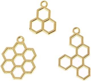 Luckycivia 15Pcs Bee Honeycomb Open Back Bezel Pendant, DIY Metal Frame Pendant, Open Bezel Setting UV for Resin Jewelry Making