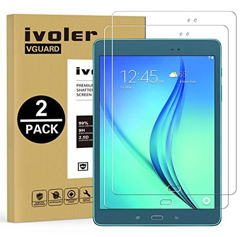 ivoler Kompatibel für Panzerglas Schutzfolie Samsung Galaxy Tab A 9.7 Zoll (T550 / T555), 9H Festigkeit, Anti- Kratzer, Bläschenfrei, 2.5D R&e Kante, [2 Stücke]