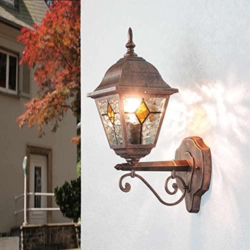 """Aplique de pared antiguo""""Salzburgo"""" con cristal estilo Tiffany/rojo negro antiguo / IP44 resistente a la intemperie / E27 a 60W 230V / lámpara nostálgica de pared de exterior para patio y jardín 🔥"""