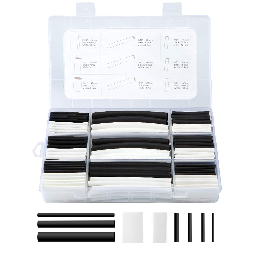 Kit de tubo termorretráctil, Eventronic 310Pcs 3: 1 Tubo termorretráctil forrado con adhesivo de doble pared con 7 tamaños, 2 colores (negro, blanco)