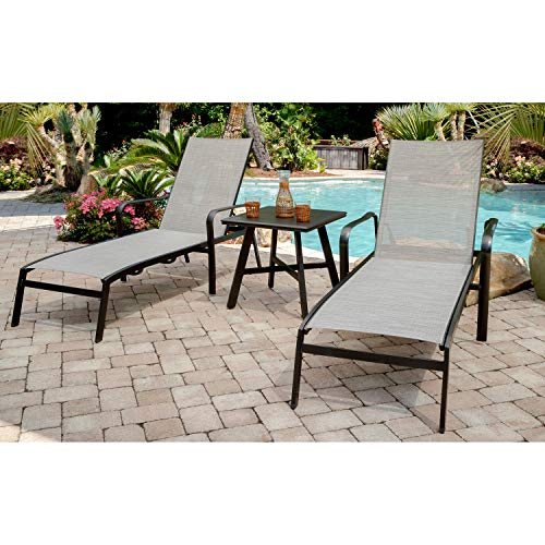 Hanover FOXCHS2PC-GRY Foxhill 2-Piece All-Weather Grade Aluminum Chaise Lounge Chair Set Commercial Outdoor Furniture, Gray/Gunmetal