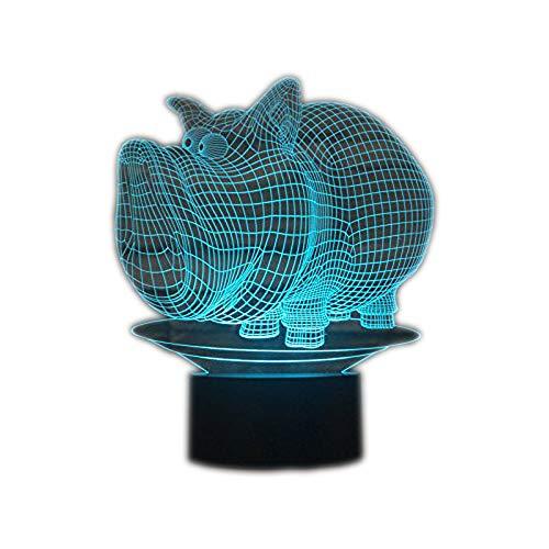 Preisvergleich Produktbild Ahat Romantische 3D Led Illusion Tisch Schreibtisch Deko Lampe 7 Farben ändern Nacht Licht für Schlafzimmer Home Decoration,  Hochzeit,  Geburtstag,  Weihnachten und Valentine Geschenk(Schwein)
