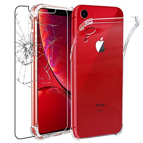ebestStar - Funda Compatible con iPhone XR, Transparente + Cristal Templado Protector Pantalla [NB: Leer descripción] [Aparato: 150.9 x 75.7 x 8.3mm, 6.1'']
