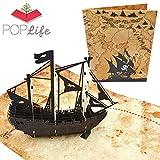 PopLife Cards Barco pirata y mapa del tesoro tarjeta de felicitación emergente en 3D para todas las...