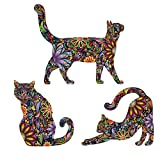 MyWonderfulWalls Cat Wall Sticker Trio - Set of 3 Stickers - Repositionable Cat Wall Decals in Flower Pattern (as Shown, S)