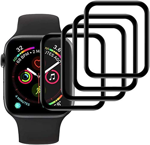 MI-KOU 【4 Piezas】 Protector de Pantalla Compatible con Apple Watch Series 3/2/1 42mm [Película Protectora Suave], [Anti-Burbujas], [3D Full Cover], [Anti-Scratch]
