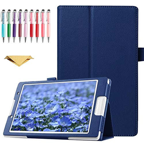 QYiD Hülle für Lenovo Tab 2 A10-70, A10-70F / Lenovo Tab 3 TB3-X70L, TB3-X70F, PU Leder Leichte Schutzhülle Cover Auto Schlaf/Wach Funktion, Blau