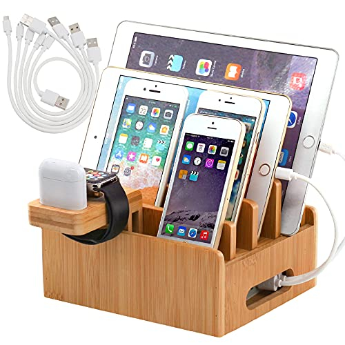 Pezin & Hulin Bamboo Charging Stations for Multiple Devices, Upgrade Desk Docking Station Organizer for Cell Phones, Tablet, Smart Watch & Earpods Stand (Includes 5 Cables BUT NO Power Supply Charger)