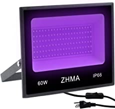 ZHMA 60W UV LED Black Light Flood Light with Plug,UV Lamp for Indoor and Outdoor Blacklight Party,Body Paints Fluorescent Effect,Glow in The Dark,Stage Light,Aquariums and Other Entertainment Venue