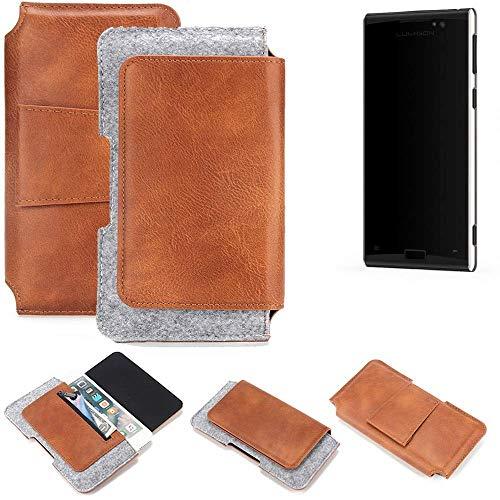 K-S-Trade Schutz Hülle Für Lumigon T3 Gürteltasche Holster Gürtel Tasche Schutzhülle Handy Smartphone Tasche Handyhülle PU + Filz, Braun (1x)