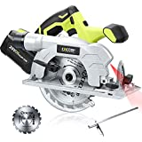 CACOOP 20V MAX 6' Cordless Circular Saw with 4.0Ah Battery and Rapid Charger,Include Two 6' Blade,Battery Powered Circular Saw with Laser for Wood Worker Household DIY Project