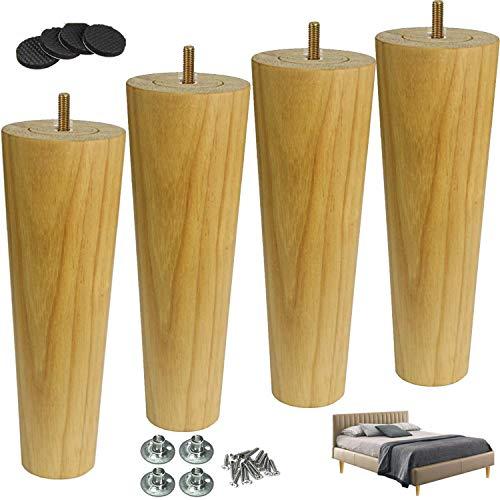 WaiMin 4 delar massivt trä möbler ben bordsben, koniska möbelfötter ersättande sängfötter, runda sofffötter skåpben soffbord fötter skåp ben avbrytande ben, förborrade bultar, trä co