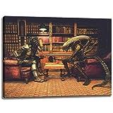 Dream-Arts Alien vs. Predator Schach Motiv auf Leinwand im
