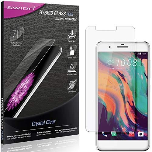 SWIDO Panzerglas Schutzfolie kompatibel mit HTC One X10 Bildschirmschutz-Folie & Glas = biegsames HYBRIDGLAS, splitterfrei, Anti-Fingerprint KLAR - HD-Clear