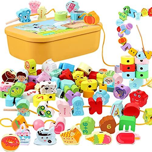 Jecimco 150個 ひもとおし 紐通し おもちゃ 子供 知育玩具 セット 手作り 組み立て DIY ビーズ アクセサリーキット 指先訓練 教育 モンテッソーリ ブロック 積み木 木製 紐通しの玩具