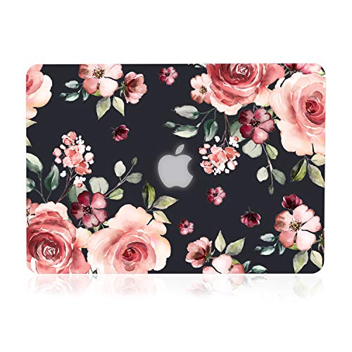 iDonzon Case for MacBook Air 13 inch M1 A2337 A2179 A1932 2020 2019 2018 Release 3D Effect Matte Black See Through Hard Cover Compatible Mac Air 133 inch with Retina Display Touch ID Peach Flowers