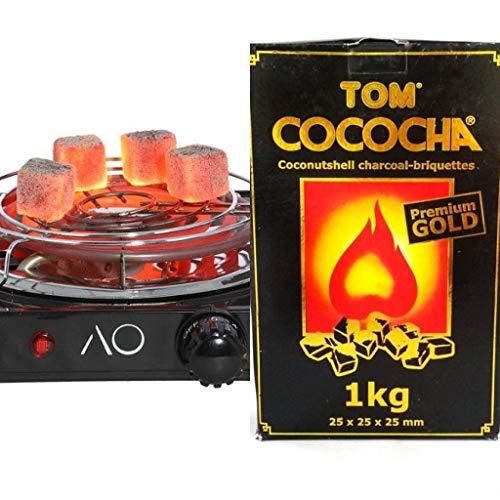 Hornillo para carbón de Shisha o Cachimba 1500W + 1 Kg Carbón Tom Cococha