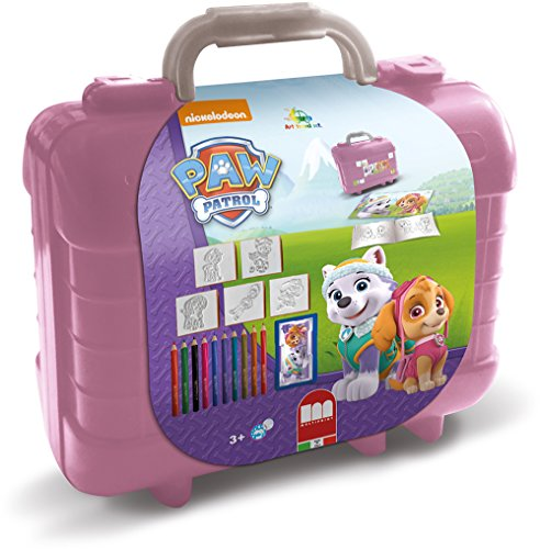 Multiprint Valigetta Travel Set Paw Patrol Girl, Made in Italy, Album da Colorare, con Puzzle e Matite, Set Timbrini Bimbi, in Legno e Gomma Naturale, Inchiostro Lavabile Atossico, Idea Regalo, 42913