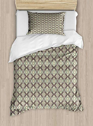 Boho Single Bedding Duvet Cover 2 Piece, Geometric Pattern, Soft Bedding Protects Set with 1 Comforter Cover 1 Pillowcase, Single Size, Pastel Green Pale Sage Green Pale Mauve Taupe and Warm Taupe