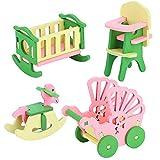 Zerodis Conjunto de Muebles de casa de muñecas de Madera para la Familia, Habitación Infantil en Miniatura Baño Dormitorio Cocina Muebles de casa Modelo Decoración de Casas de muñecas (582Child Room)