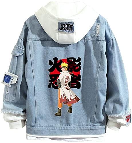 Sudadera con capucha de mezclilla Naruto Unisex Pullover Sudadera con capucha Hombres Mujeres Anime 3D Impreso Moda Moda Casual Sudaderas con capucha con grandes bolsillos (Color : 7, Size : S)