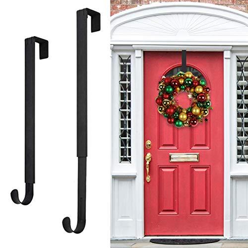 "Wreath Hanger,Adjustable Wreath Hanger for Front Door from 14.9-25"",20 lbs Larger Door Wreath Hanger Christmas Wreaths Decorations Hook(Black)"