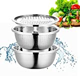 Multifunctional Stainless Steel Kitchen Drain Basket with Graters - Aiboria3-in-1 Vegetable JulienneSlicer Cheese Cutter Washing Basket with Drain Basin for Cooking, Prepping, Food Storage