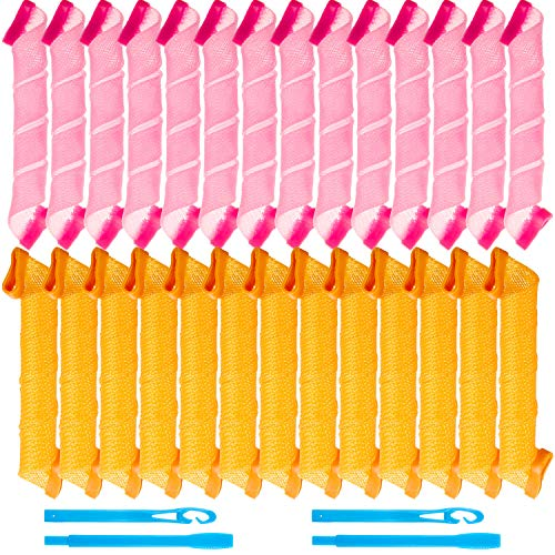 28 Pieces Hair Curlers Spiral Curls No Heat Wave Hair Curlers Styling Kit with 2 Pieces Styling Hooks for Most Kinds of Hairstyles (Pink and Orange,30 cm)
