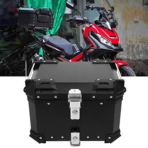LUKUCEA Universal baúl de Moto Scooter Maleta 45L Motocicleta topcase con Cover de Aluminio Impermeable y anticolisión, Cerradura con Dos Llaves,Negro