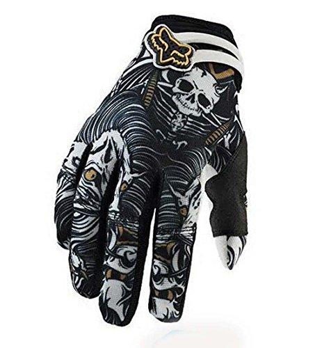 FOX グローブ 手袋 サイクリング バイク ツーリング オフロード スカル ドクロ ライディング メッシュグローブ オールシーズン Lサイズ [並行輸入品]