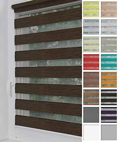 Home-Vision® Duo Rollo Klemmfix, Doppelrollo ohne Bohren mit Klämmträgern, Rollos für Fenster und Türen (Holzlook Braun, B100cm x H150cm)
