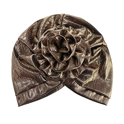 Sombreros turbanos para mujer, color dorado y plateado, para quimioterapia, hiyab e indio musulmn (color 3, tamao: talla para todos)