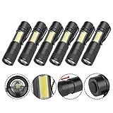 600 Lumen LED Zoom Flashlight, 6Pcs 4 Mode Pocket Mini COB Torch