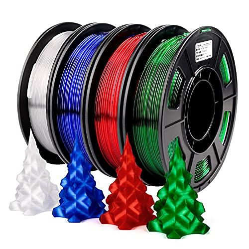 AMOLEN PETG 3D Printer Filament Bundle, PETG Filament 1.75, Transparent Green, White, Red, Blue Filament Set, Transparent/Clear PETG Filament 1.75mm with Light Transmission Feature 4x250g
