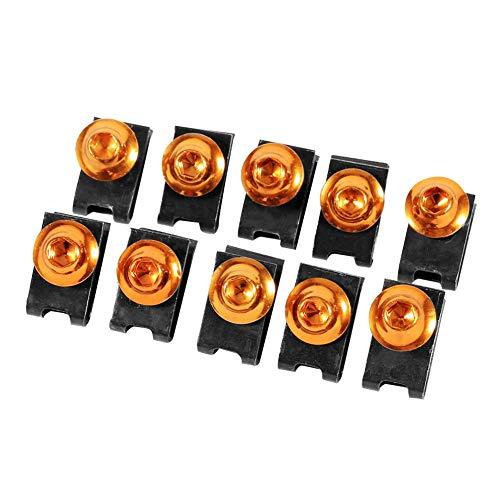 10 stücke Motorrad Verkleidungskörper Schraubensatz, Keenso M5 Verkleidungsschraube Spire Speed Fastener Clip Mutter(Gold)