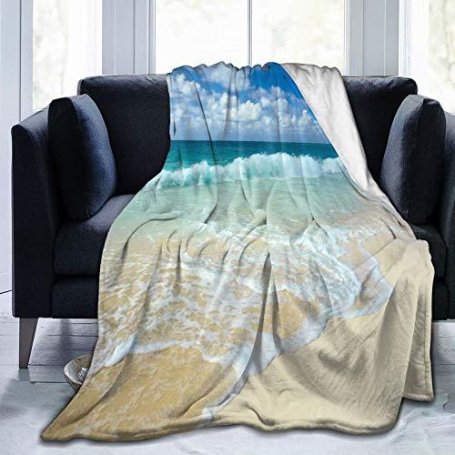 HUAYEXI Flanell Fleece Soft Throw Decke,Wellenstrand mit schaumigen Wellen auf leerem Seeufer Feiertagsthema ruhige Küste,für Sofas Sofa Stühle Couch Leicht,warm und gemütlich 153x127cm
