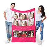 EastArts Custom Photo Collage Blanket, Using Own Picture and Text on Throw Blanket for Grandma and Mom, 10 Colours Available