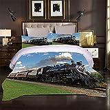 3D Funda de Nórdico y Fundas de Almohada Funda Nórdica y Funda de Almohada Tren Zhang Double(200X200 Cm), 3 Piece Set 1 Piece Quilt Cover + 2 Piece Matching Pillowcase