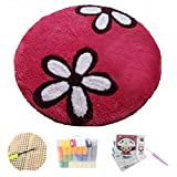 LCYZ Kit De Crochet, Alfombra De Flores Elegante, Kit De Hilo De Crochet Artesanal, Kit De Crochet De Costura, Alfombra De Crochet Sin Terminar,(50cm/19.6in)