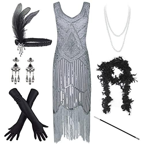 Women's Vintage 1920s Sequin Beaded Tassels Hem Flapper Dress w/Accessories Set (X-Large, Grey)
