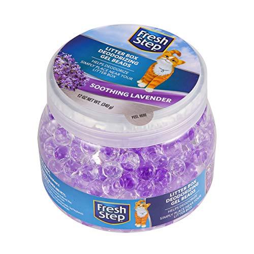 Fresh Step Litter Box Deodorizing Gel Beads in Soothing Lavender Scent | Deodorizing Gel Beads Air Freshener for Pet Smells from Litter Box | 12 oz Pet Odor Eliminating Gel Beads to Freshen Air