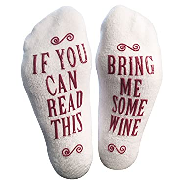 Luxury Combed Cotton Bring Me Some Wine  Novelty Socks - Perfect Hostess or Housewarming Gift Idea for Women, Cute Present for Wine Lover, New Mom or Wife - By Haute Soiree