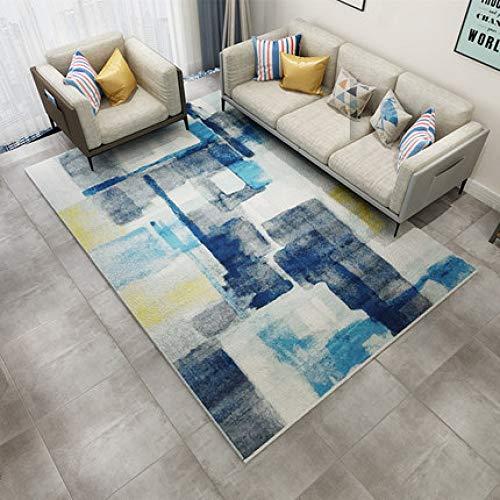 GBFR Alfombra grande de tinta azul, 200 x 300 cm, alfombra abstracta vintage, alfombra de pelo corto, decoración del hogar para sala de estar
