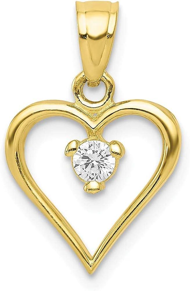 10k 100% quality warranty! Yellow Gold Synthetic Heart Very popular CZ Pendant 10C922