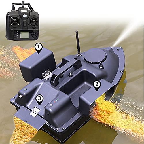 HIMAPETTR Fischfinder Futterboot, RC Boot, 500M RC, DREI Unabhängigen Köderfächern, Ferngesteuertes Tempomat, Hochgeschwindigkeits doppelmotoren, LED Nachtlicht, für Angler